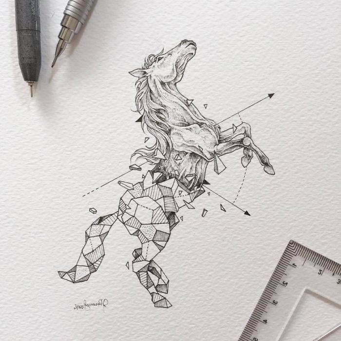 schöne bilder zum nachmalen, schwarz graue zeichnung, pferd zeichnen, geoemtrische motive, pfeile