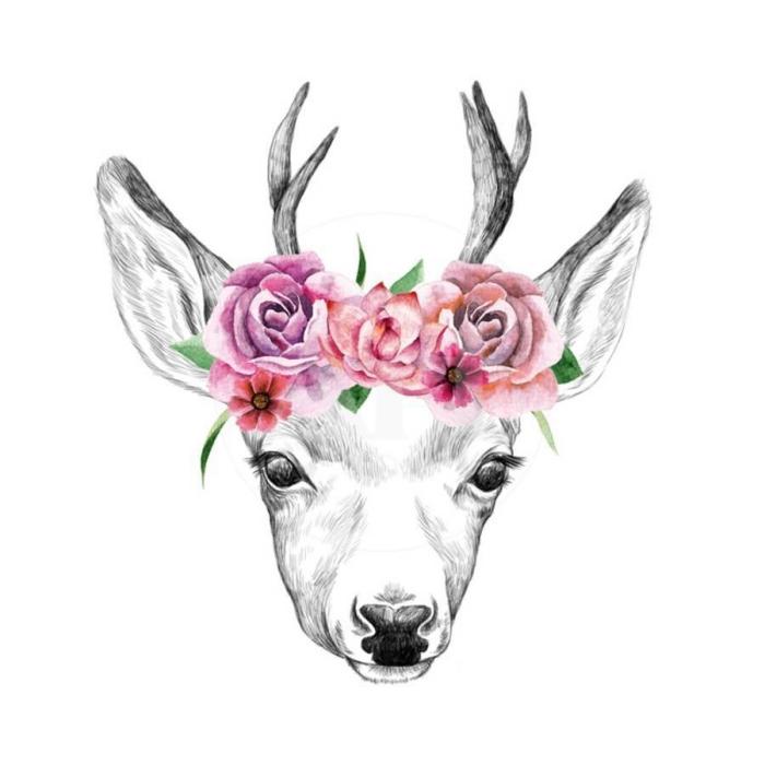 schöne bilder zum nachmalen, reh mit kopfschmuck aus rosa blumen, schwarz graue zeichnung, rosen