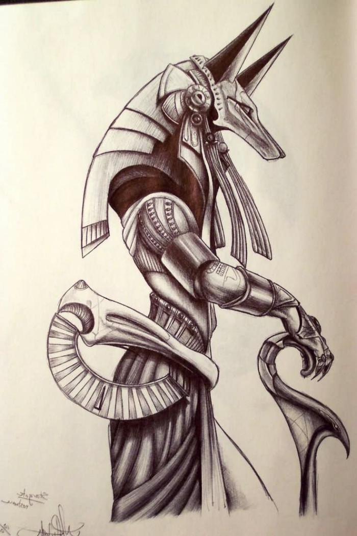 schöne bilder zum selber malen, anubis zeichnung, tattoo vorlage für männer, egyptischer gott
