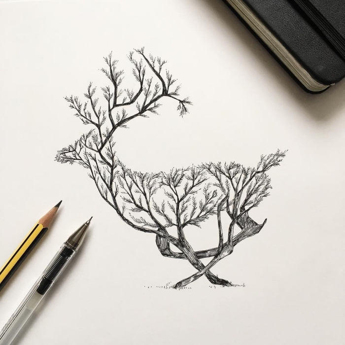 schöne bilder zum selber malen, hirsch aus bäumen, schwarzer kugelschreiber, bleistift