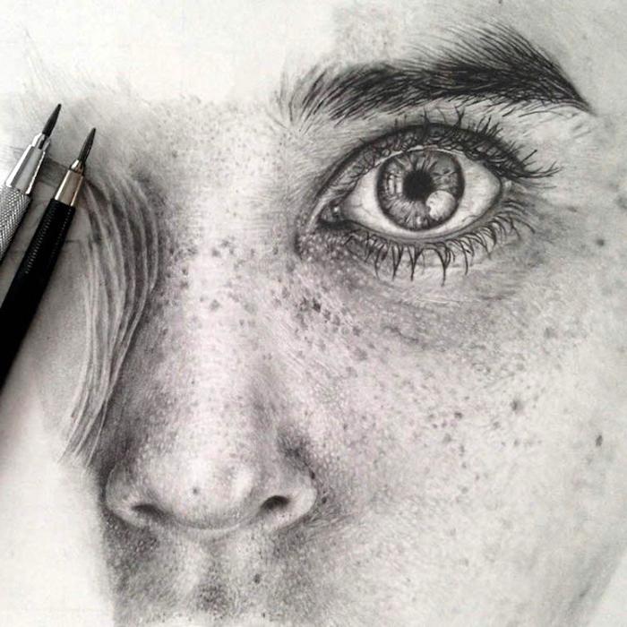 frauengesicht zeichnen mit bleistift, realitische zeichnung, schöne bilder zum selber malen