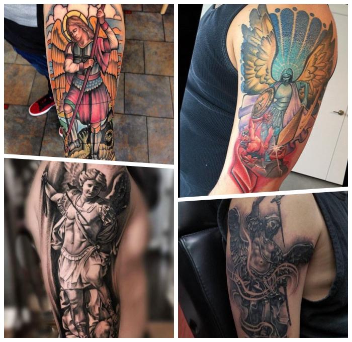 schutzengel tattoo, erzengel michael tattoo ideen, tätowierung am arm stechen lassen, relaitsche tattoo designs