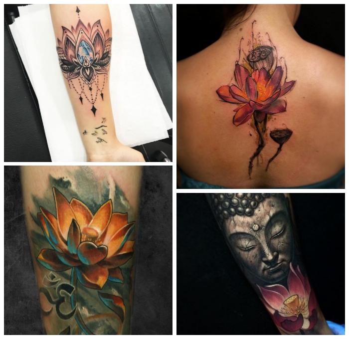 symbol für neuanfang, realitisches tattoo mit buddha und lotus als motiv, rosa lotusblume