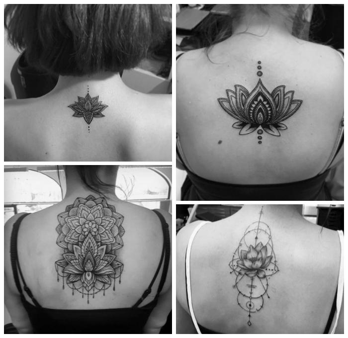 symbol für neuanfang, tattoo ideen für frauen, mandala lotus am rücken, geometrische elemente, kreise