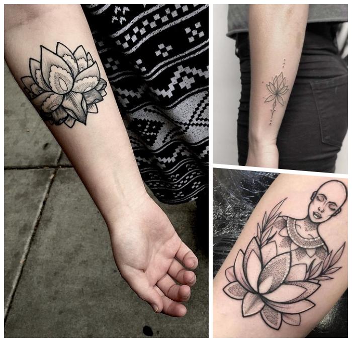 symbol für neuanfang ideen, tattoo motive für frauen, schwasrz graue tätowierungen, lotus am arm