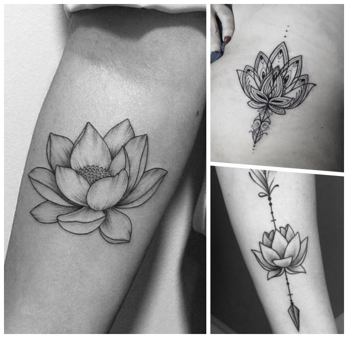 symbol für neuanfang, lotusblüte am arm, schwarz graue tätowierungen, japanische tattoo motive