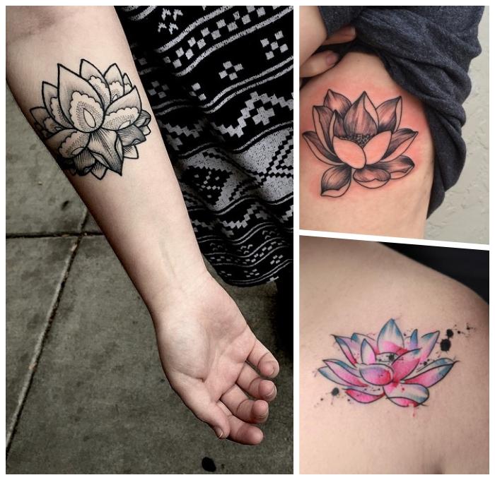 symbol für neuanfang, schwarz graues tattoo am unterarm, tätowierung an der körperseite
