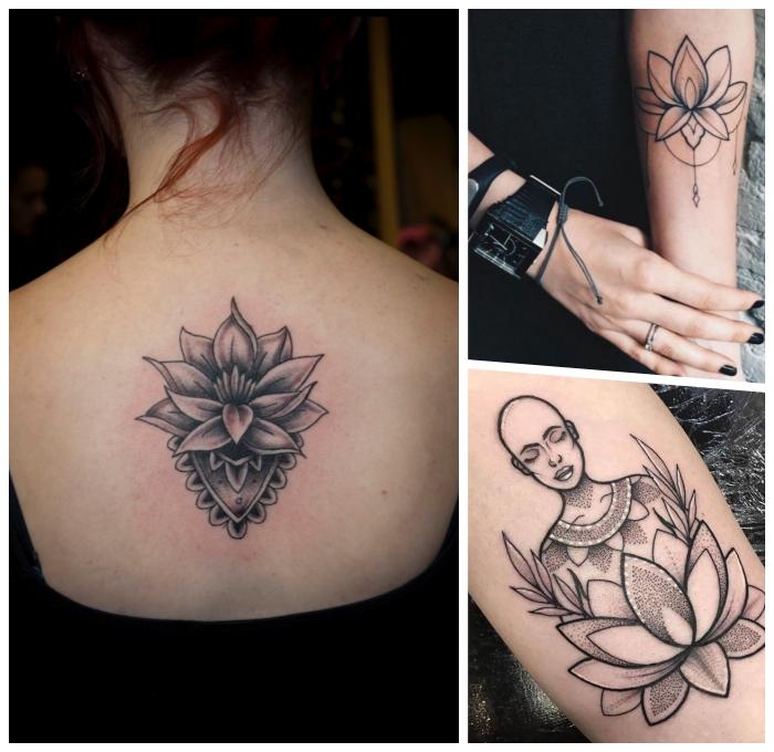 symbole und ihre bedeutung, lotusblume am rücken, kleine tattoo motive für frauen, mandala motive