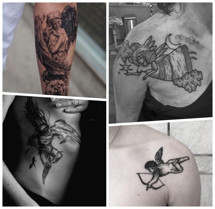 tattoo engel design, kleine tätowierung am schulter, blackwork tattoo an der körperseite, tattoo motive für frauen