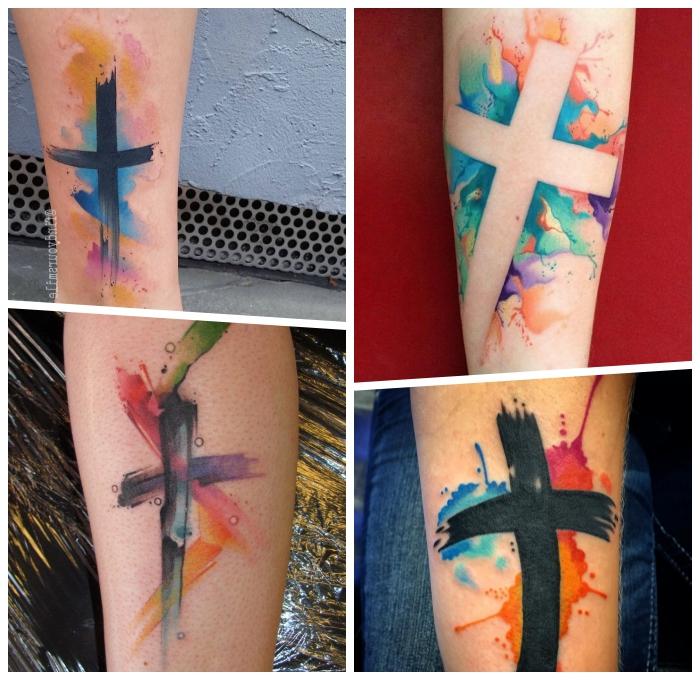 wasserfarben tattoos mit bedeutung, tattoo ideen für männer und rfauen, kreuz als tattoo motiv