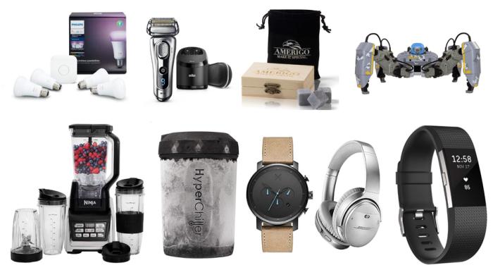 weihnachtsgeschenke für männer, geschenkideen mann, schwarzes fintnessband, graue kopfhörer