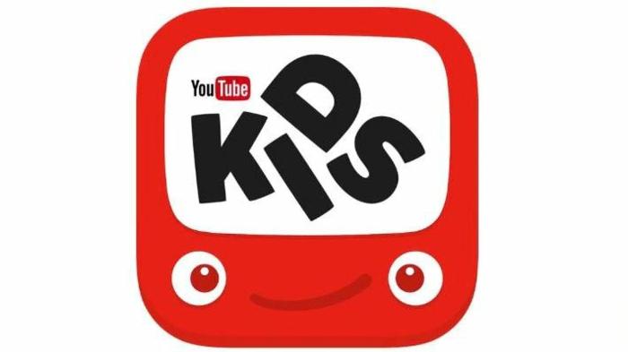 ein roter Bildschirm mit einem Gesicht, das Logo von YouTube Kids mit YouTube Logo