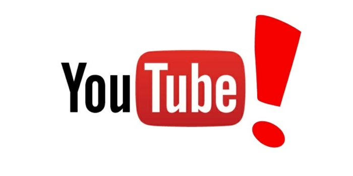 das Logo von YouTube mit einem Ausrufezeichen, das Logo auf weißem Hintergrund