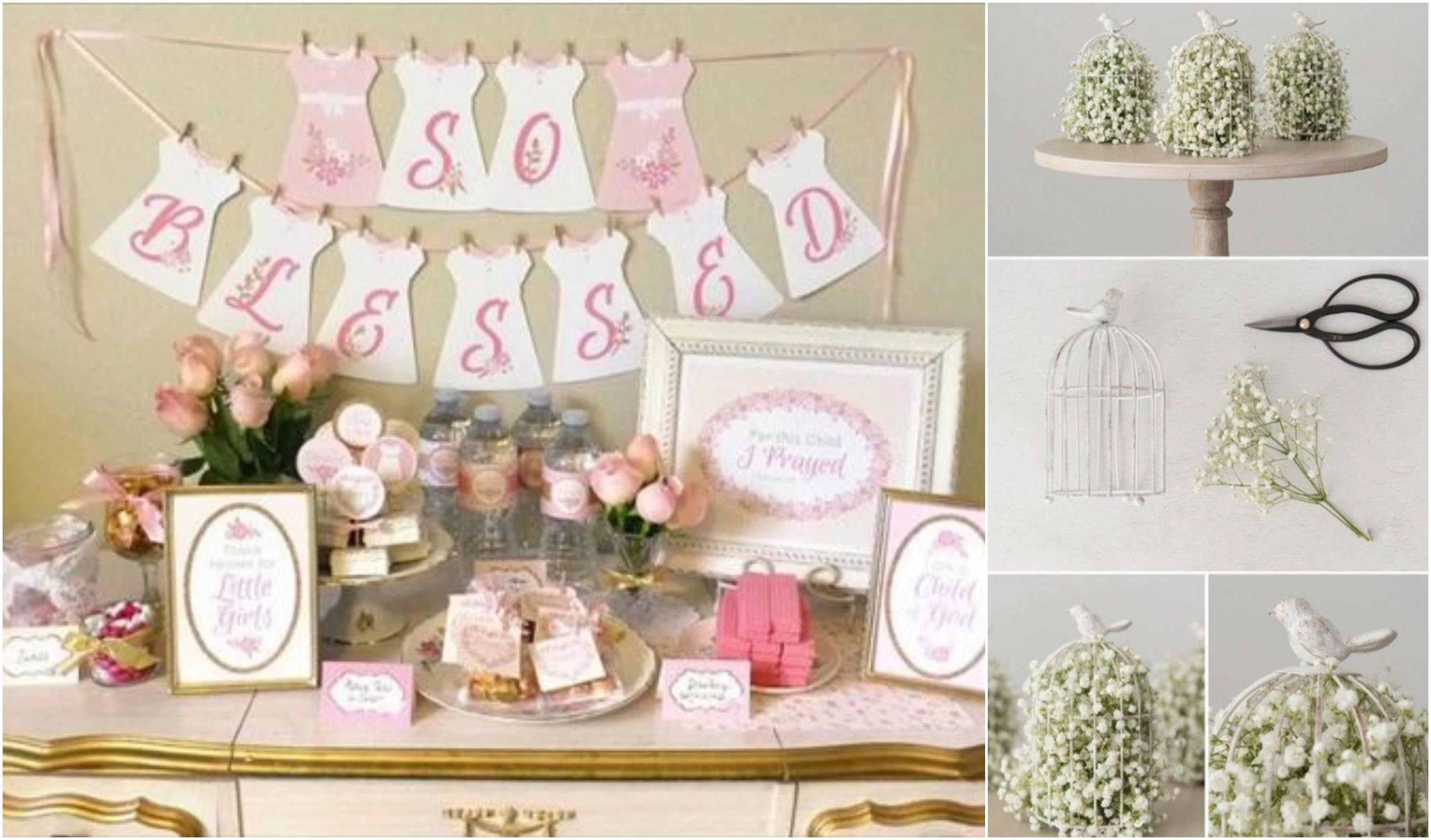tischdeko taufe ideen, weiß und rosa, mädchenparty motiv taufe, rosa aufschrift