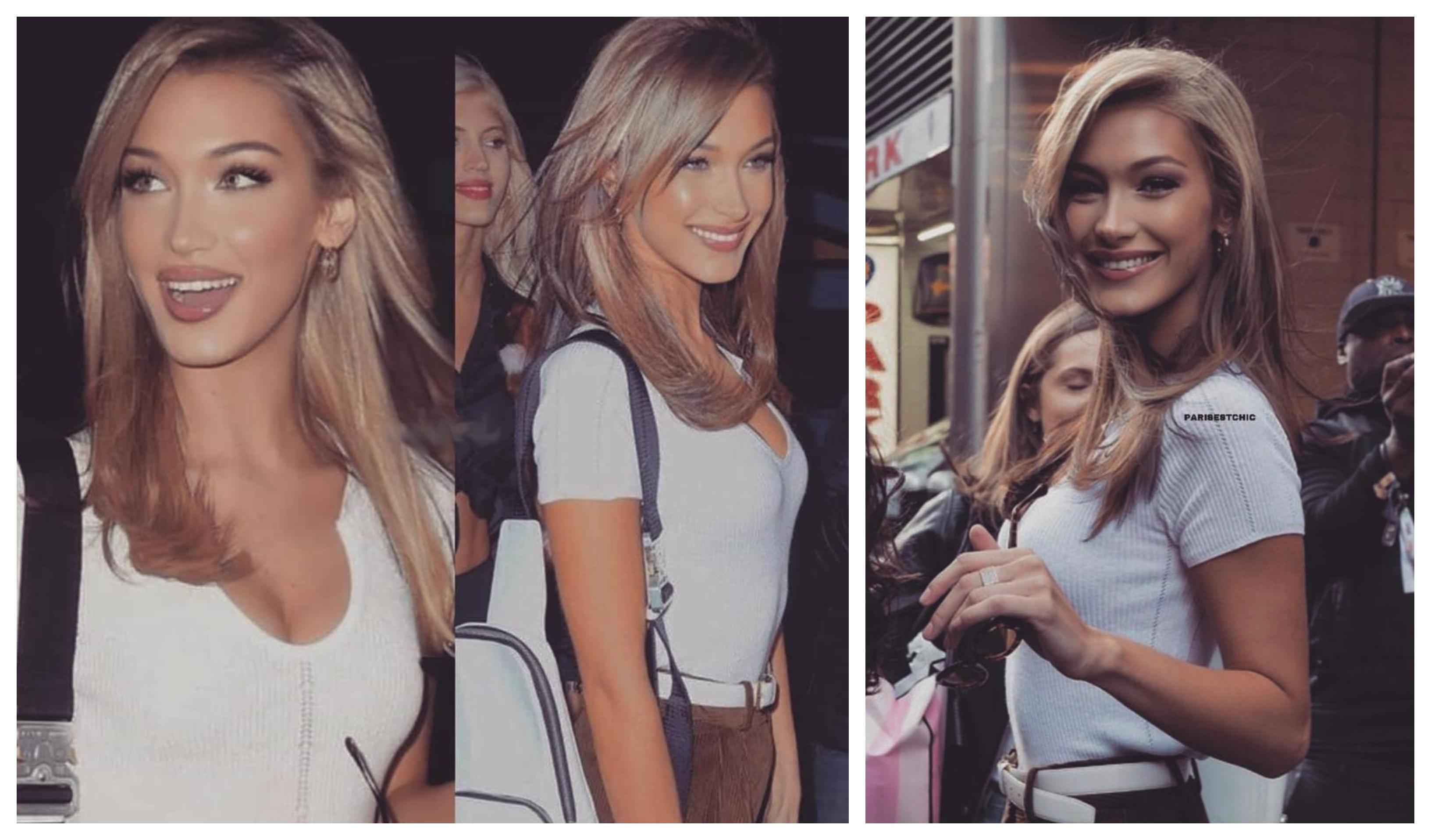haarfarben trends 2020, ideen zum entlehnen. bella hadid mit blonden haaren, lässiges-outfit