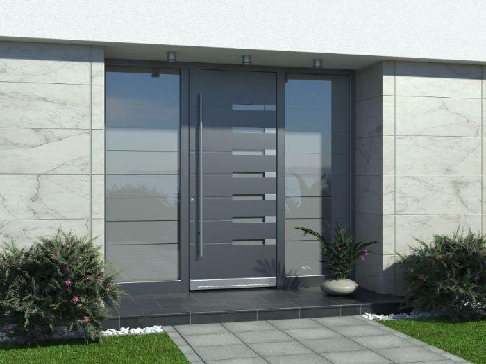 graue haustüren aus aluminium