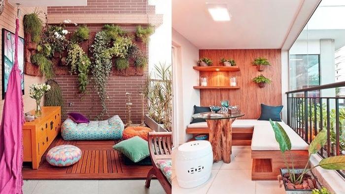 balkon dekorieren in bunten und krassen farben, zwei farbkombination ideen, blau und rosa, orange