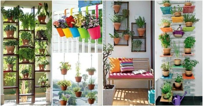 eine collage mit vielen balkon ideen, wandgestaltung, blumentopfen an der wand