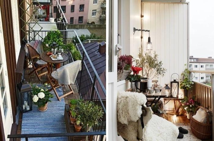 kleinen balkon gestalten, zwei deko ideen, collagebild, viele kleine deko elemente, details