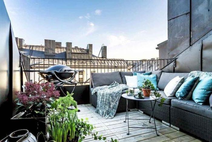 balkon einrichten, deko ideen, möbel in grau une ien bbq, barbeque ideen, dachgarten