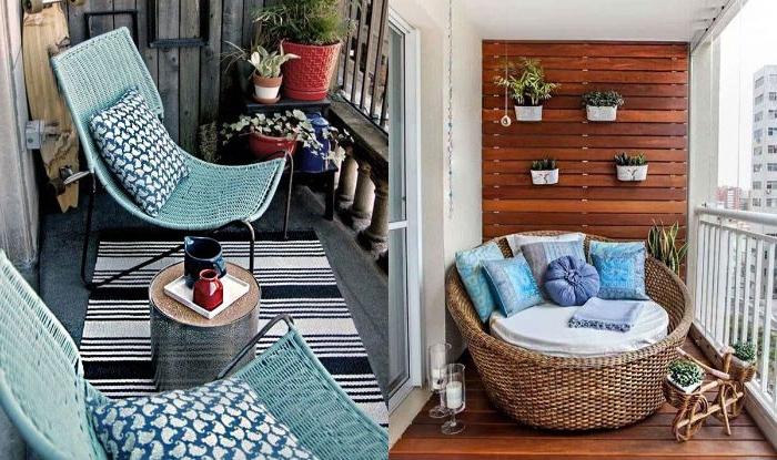 balkon einrichten, zwei stilvolle deko ideen mit einem riesengroßen sessel für zwei, liegestühle, deko in blau, sommer laune