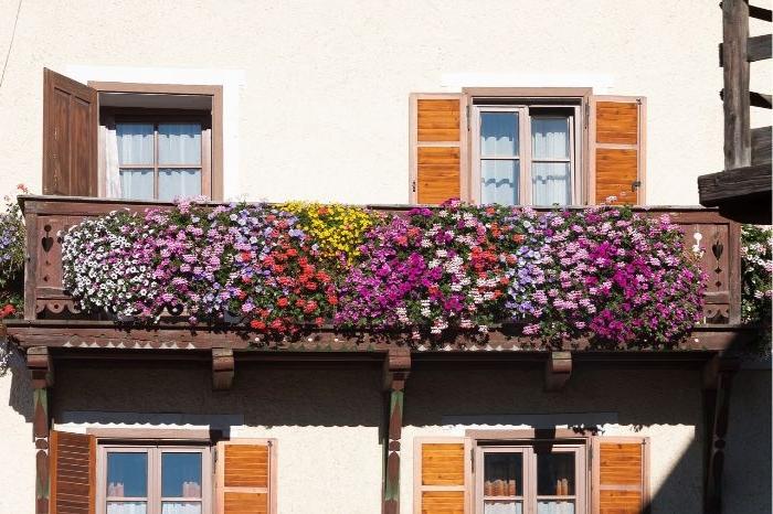 kleinen balkon gestalten, blumen deko an der terrasse oder am balkon, bunte blumen, foto von draußen