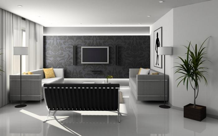 epoxidharz beschichtung im wohnzimmer, weißer epoxidharzboden, einrichtung in schwarz und weiß, wohnzimmereinrichtung