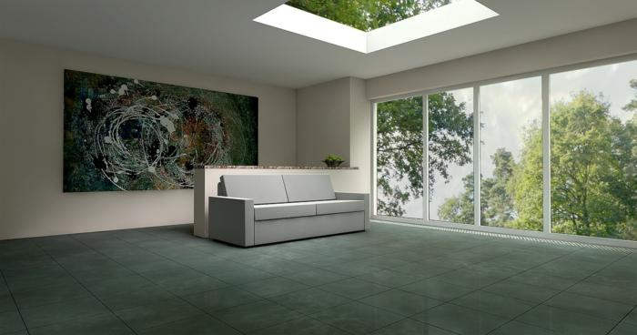 eine Wohnung in minimalistischem Stil, Fliesenboden in der Wohnung, ist es besser als Steinboden