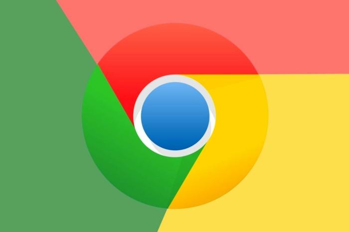 das Zeichen von Chrome in vier Farben, Rot, Grün, Gelb und Blue, eine schöne Kombination