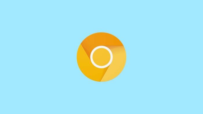 ein Zeichen von Chrome Canary auf blauem Hintergrund, ein gelbes Auge