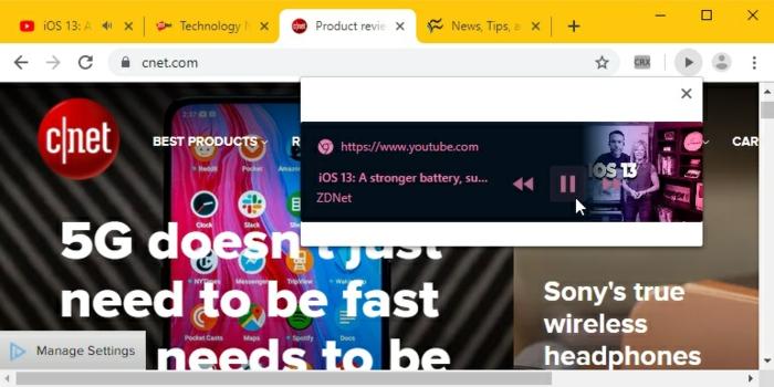 ein Bespiel wie die neue Funktion von Chrome auf iOS die Videos steuern