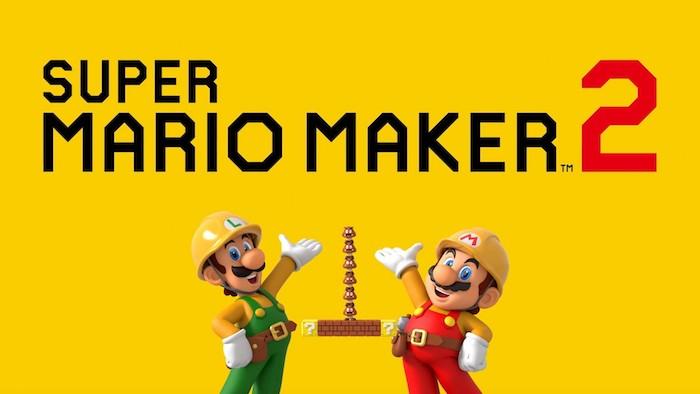 der logo von dem spiel von nintendo super mario maker zwei. zwei männer mit arbeitskleidung