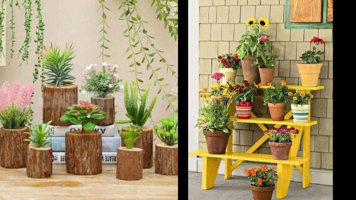balkonmöbel für kleinen balkon, dekorationen mit blumen, blumentöpfe und pflanzen
