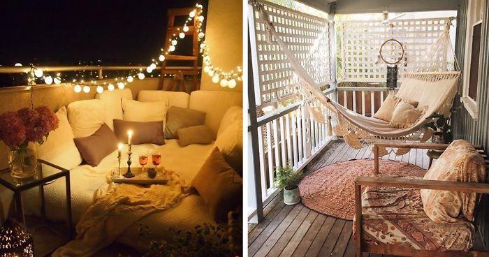 balkonmöbel für kleinen balkon, terrasse romantisch dekorieren, ethno stil idee mit hammock, deko inspiration für alle