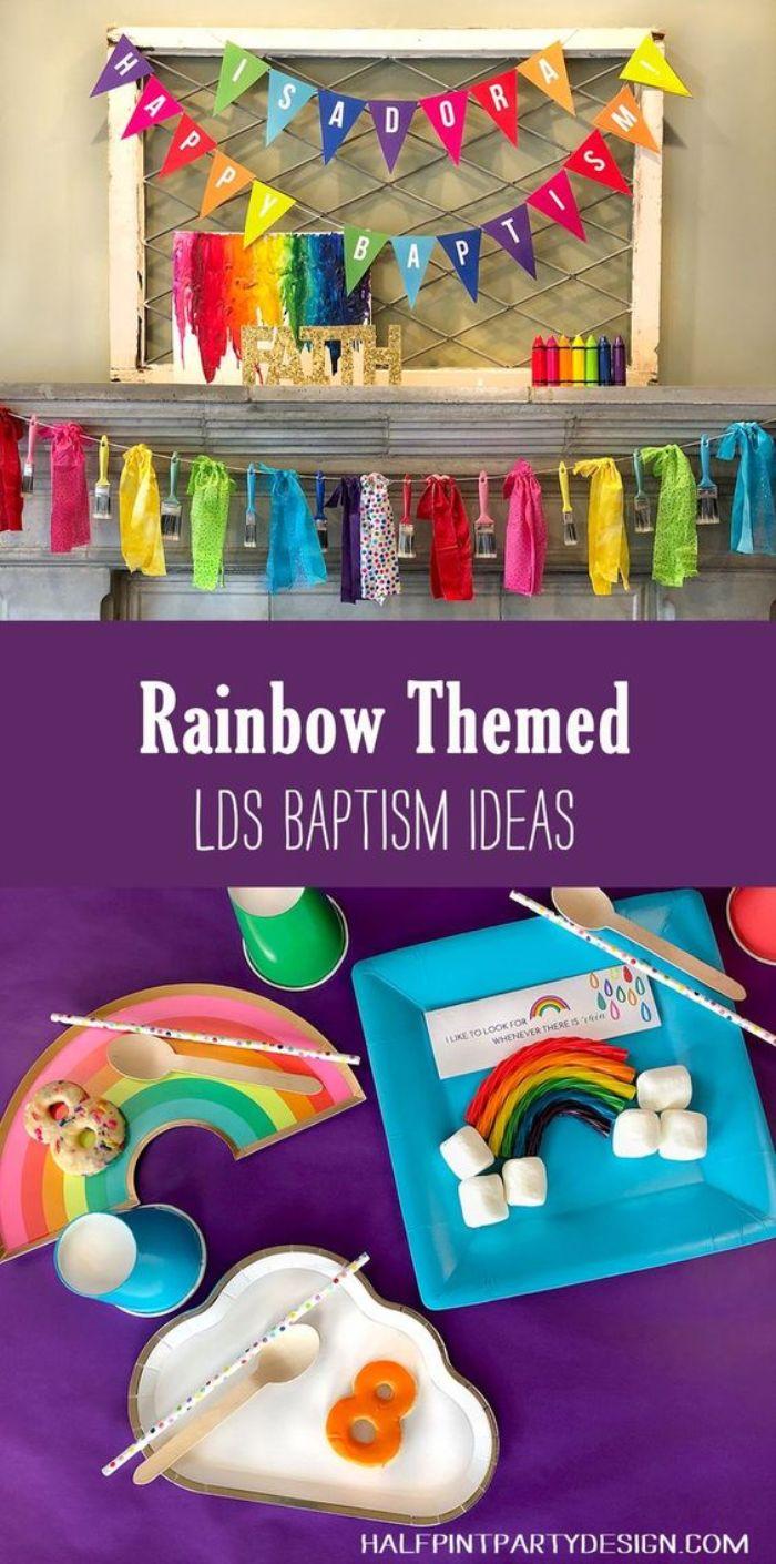 gastgeschenke konfirmation, regenbogen motiv idee, wanddeko und dekorationen details bunte party baptism
