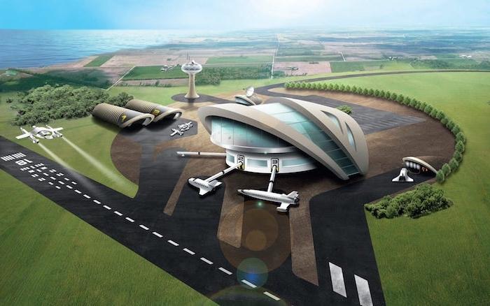der erste space airport in england, blauer himmel und meer, bäume mit grünen blättern und viele weiße und fliegende raumschiffe