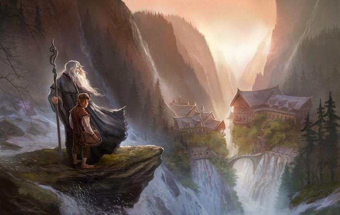 der zauberer gabdalf mit einem langen grauen bart und frodo, der herr der ringe, viele berge und wald mit bäumen, dorf und wasserfälle