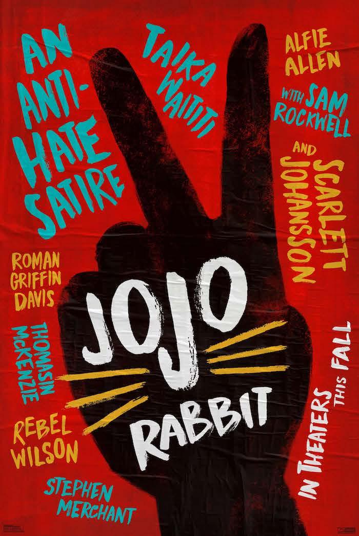 eine große schwarze hand, roter poster zu dem neuen film von taika waititi jojo rabbit