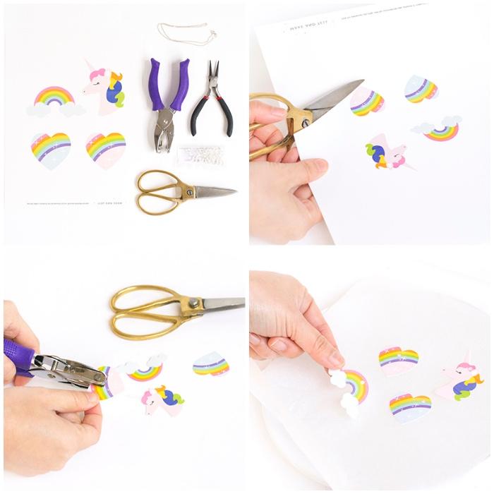 diy schmuck basteln mit kindern, kettenanhänger selbst gestalten aus papier, anleitung, regenbogen