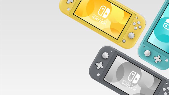 drei kleine konsolen für spiele von nintendo, nintendo switch lite in drei fraben gelb, grau und türkis