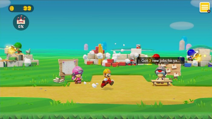 das spiel von nintendo super mario maker teil zwei, blauer himmel und grüne wiesen, ein mann mit roter arbeitskleidung