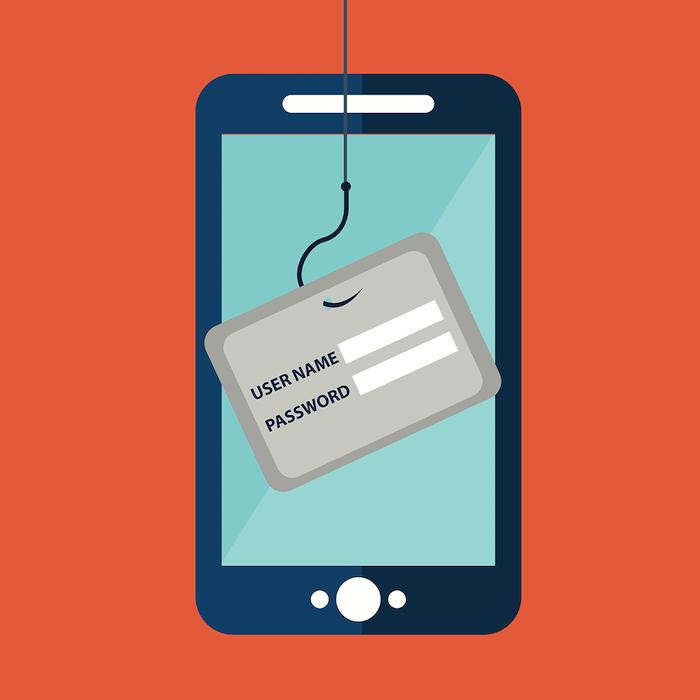 username und password, ein blaues smartphone mit einem blauen bildschirm, eine graue angel mit angelhaken