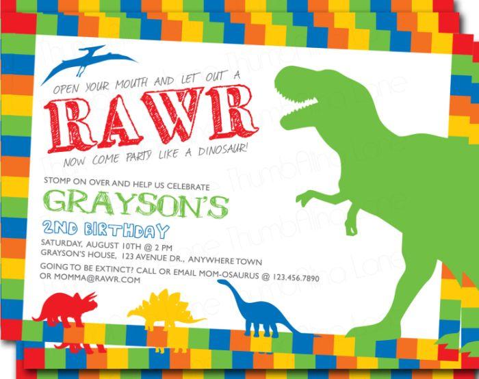 einladung kindergeburtstag basteln, dinosaurier party idee lustig und gruselig gleichzeitig