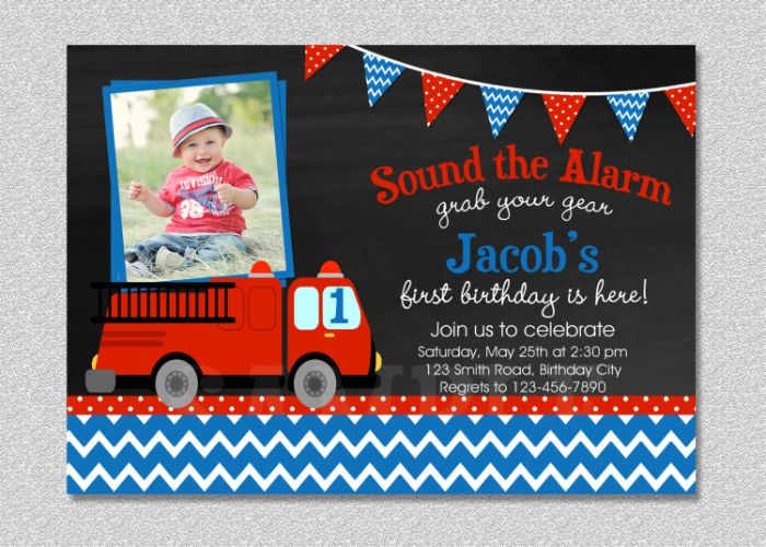 einladungskarten drucken, das baby wird 1, ein foto vom geburtstagskind auf der karte und auto oder lkw