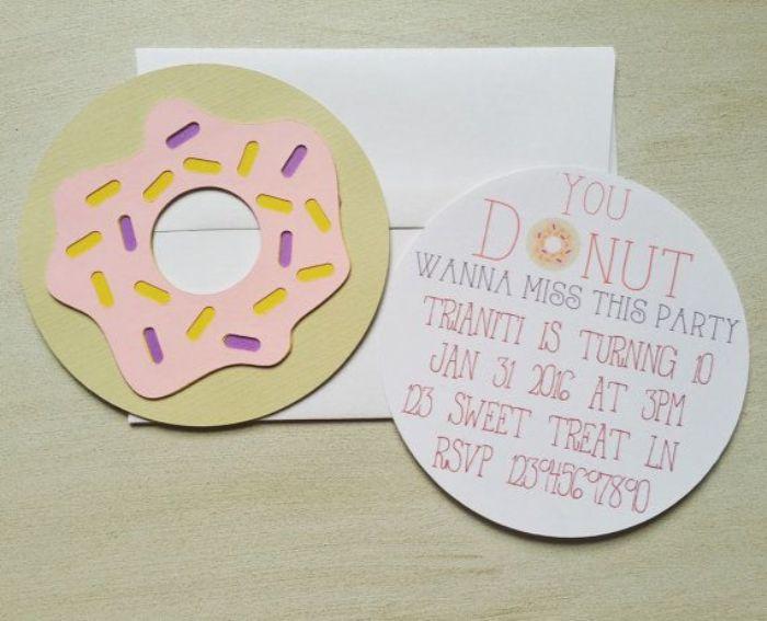 einladungskarten drucken, eine superidee, donut einladung, einfach schnell und lustig zum basteln