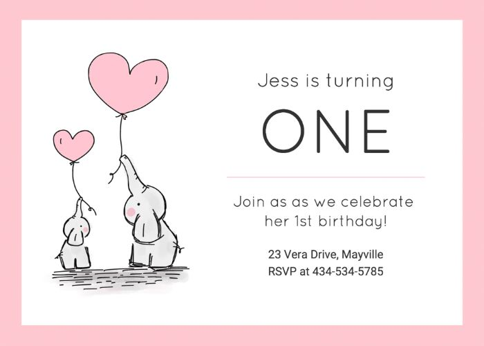 einladungskarten erstellen, einladen mit liebe und guter laube, zwei elefanten halten herzchen ballons