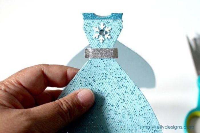 geburtstagseinladung kinder, elemente und details am kleid, diy anleitung in bildern
