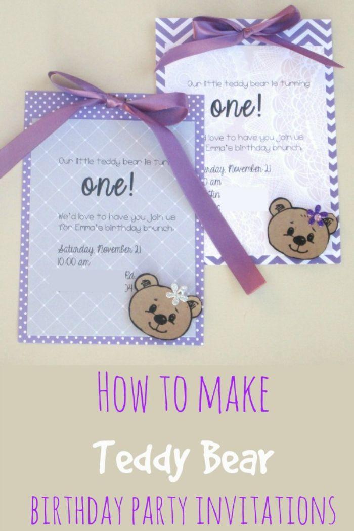 einladungskarten erstellen, niedliches design in lila mit bären, teddy bear