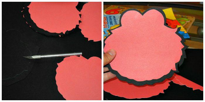 karten selbst gestalten, elmo gesichter aus rotem und schwarzem papier ausschneiden