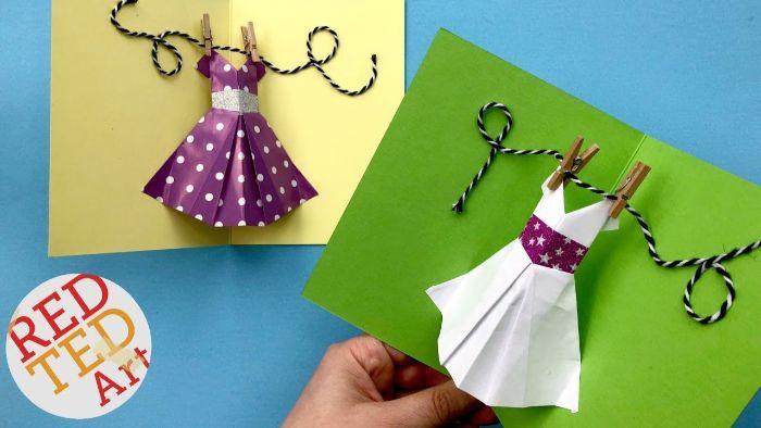 geburtstagskarten selbst gestalten, kleid pop up karte mit bunten designs, diy idee